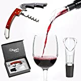 Vineyard's Choice Wine Aerator Spout and Bottle Opener Set – Double-Hinged Waiters Corkscrew with Foil Cutter and Aerating No Drip Pourer in Gift Box Review