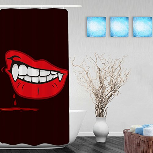 Red Lips Of The Monster Bathroom Shower Curtains Halloween Home Decor Shower Curtain Waterproof Mildewproof Not Fade Polyester Fabric Black Red 36