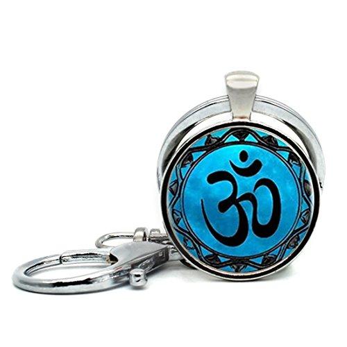 (Round Shape Keychain Loops Green Galaxy Eyes Keyring Key Chain Ring Key)