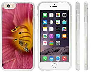 Rikki KnightTM Honey Bee on Pink Flower Macro Close-Up Design iPhone 6 Case Cover (Clear Rubber with front bumper protection) for Apple iPhone 6