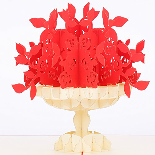 Rose Bouquet & Vase Pop Up Card by GalaxyPop, 3D Birthday Card, Father's Day, Mother's Day Card, Dating, Love, Anniversary, Valentine, Graduation, Get Well, Wedding, Engagement, Red Romantics ()