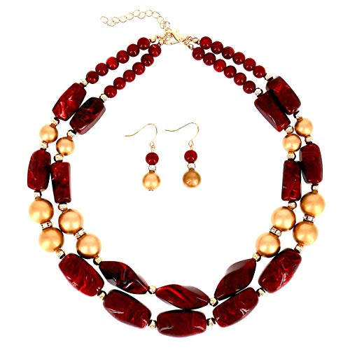 COMELYJEWEL Fashion Jewelry Resin Stone Beads Double Layer Strand Statement Women Necklace and Earrings Set (Brown Gold)