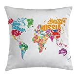 Ambesonne Travel Throw Pillow Cushion Cover, World Map with Names of The Countries Europe America Africa Asia Graphic Style, Decorative Square Accent Pillow Case, 18 X18 inches, Multi