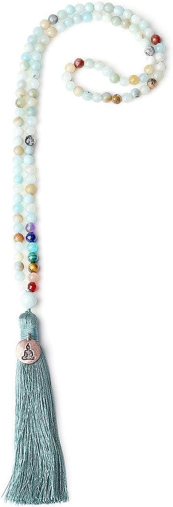 COAI® Collar de Piedra Semipreciosa 108 Cuentas Mala 7 Chakra Adorno Buda 6mm