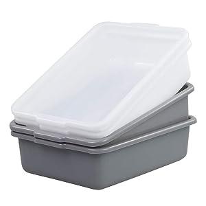 Nesmilers 4 Packs 8 Liter Plastic Commercial Bus Tub Wash Basin, Gray White