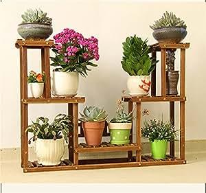 Madera maciza estante marco flores maceta para balcón flores accesorio de aterrizaje de sala de estar estante pantalla
