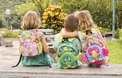 okiedog wildpack junior 86006 mochila para niños con cinturón de pecho PAPAGAYO, turquesa LIEBRE rosa