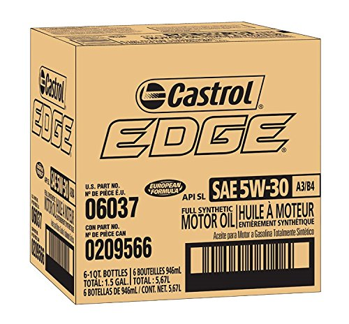 Castrol 06037 Castrol EDGE A3/B4 5W-30 Advanced Full Synthetic Motor Oil, 1 Quart, 6 ()