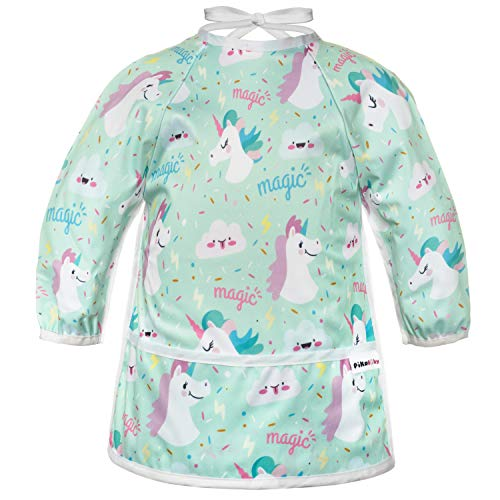 Pikababy Long Sleeved Bib Waterproof Bibs with Pocket - 6 to 24 Months Baby Girl and boy Colors (Blue Unicorn)