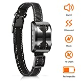 #5: POP VIEW Bark Collar Shock Collar with Beep Ultrasound Harmless Shock Rechargeable Anti Bark Control Device