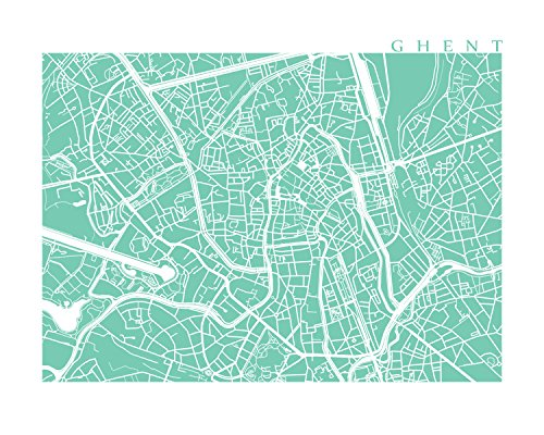 Ghent Map (Ghent Map Print)