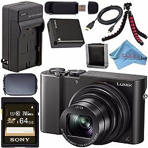 Panasonic Lumix DMC-ZS100 Digital Camera (Black) DMCZS100K + DMW-BLG10 Lithium Ion Battery + External Rapid Charger + Sony 64GB SDXC Card + Small Case + Flexible Tripod Bundle