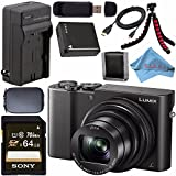 Panasonic Lumix DMC-ZS100 Digital Camera (Black) DMCZS100K + DMW-BLG10 Lithium Ion Battery + External Rapid Charger + Sony 64GB SDXC Card + Small Case + Flexible Tripod Bundle
