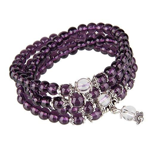 Amethyst Necklace Bracelet (Bewish 6mm Crystal Stone Buddhist Amethyst 108 Prayer Beads Mala Energy Meditation Bracelet Necklace)