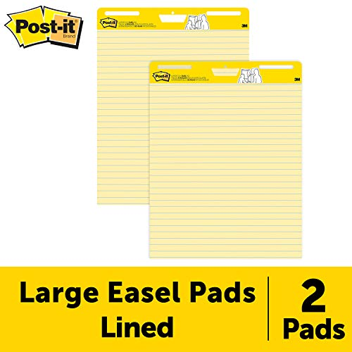 Post-it Super Sticky Easel Pad, 25 x 30 Inches, 30 Sheets/Pad, 2 Pads (561), Yellow Lined Premium Self Stick Flip Chart Paper, Super Sticking Power (Post It Flip Chart Pads)