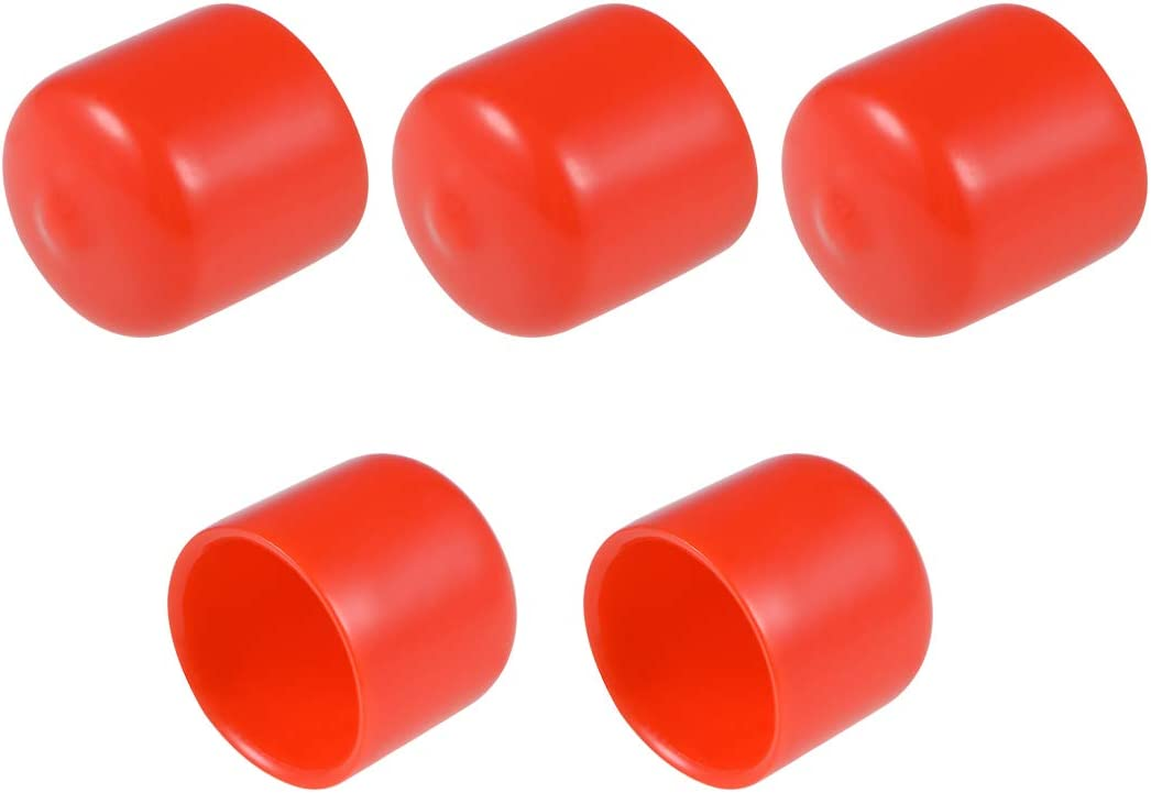 uxcell 5pcs Rubber End Caps 21mm ID Round End Cap Cover Screw Thread Protectors Red