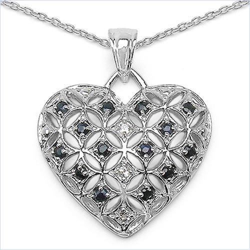 Bijoux Schmidt-Collier avec pendentif coeur topaze blanc / bleu saphir-0, 80 carats en argent