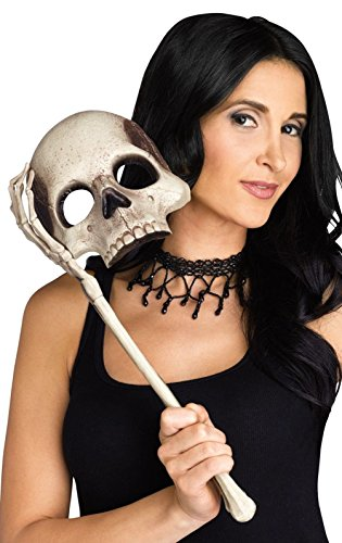 Mememall Evil Skull Lorgnette Mask Skeleton Bone Handle Mask Halloween Costume (Skeleton Halloween Mask)