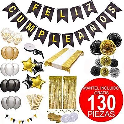 Decoración Cumpleaños - Kit Mas Completo Pancarta de Banderines Feliz CUMPLEAÑOS,Globos,Pompones,Mantel y Mucho Mas - Decoración Dorado y Plateado