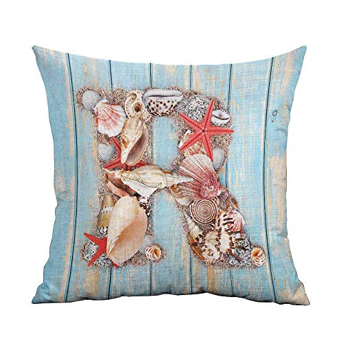 warmfamily Personalized Pillowcase Letter R Tropical Animals in Alphabet Art Ocean Letter R Seashells Starfish Soft and Durable W20 xL20 Pale Blue Ivory Dark Coral