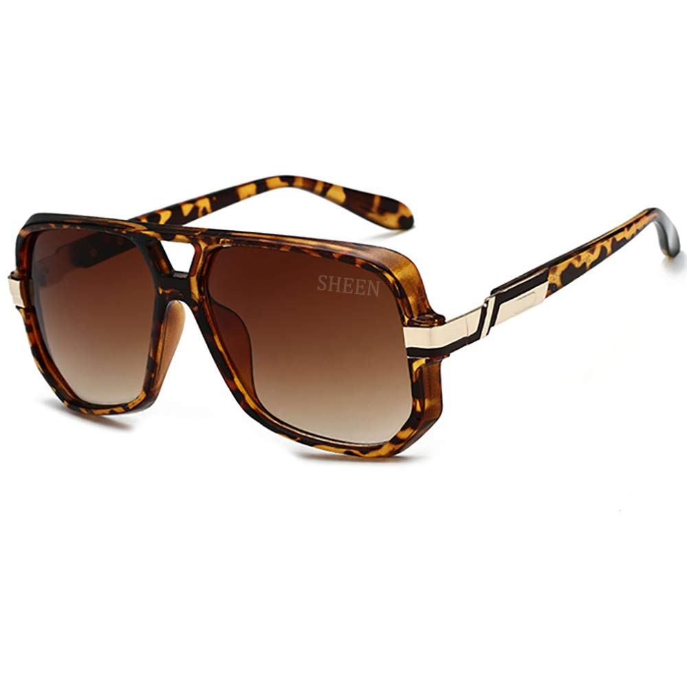 Aviator Sunglasses Gold Black Mens Sunglasses Bold Frame Retro Women Eyewear UV400 SHEEN KELLY 68369-6