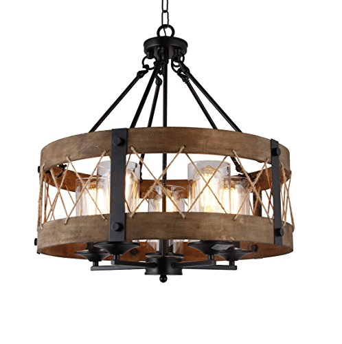 (20 Inch Wide Round Wood Shade with Rope, 5 Light Farmhouse Style American Country, Antique Retro Perfect for Dining Room Kitchen Salon)