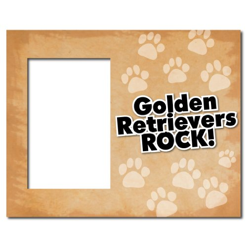 VictoryStore Gift Frame - Picture Frame - Dog Breed Themed - Golden Retrievers Rock - Holds 4X6 (Retriever Dog Breed Picture Frame)