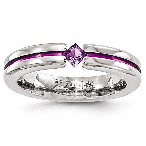 ICE CARATS Edward Mirell Titanium Amethyst Purple Anodized 4mm Wedding Ring Band Size 7.50 Stone Gemstone Fashion Jewelry Gifts for Women for Her