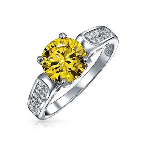 (3 CT Canary Yellow Round AAA CZ Solitaire Engagement Ring Cubic Zirconia Pave Band 925 Sterling Silver For Women)