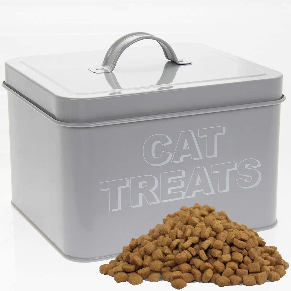 Lesser & Pavey Home Sweet Cat Treat Pet Food Container | Gray Enamel Cat Food Storage Container | Metal Bucket with Lid for Pet Food | Cute Storage for Cat Feeding and Watering Supplies