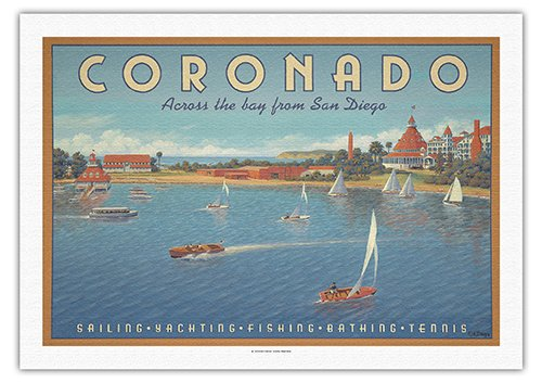 Coronado Island, California - Across the Bay from San Diego - Hotel Del Coronado - Sailing - Vintage Style World Travel Poster by Kerne Erickson - Fine Art Rolled Canvas Print - 27in x 40in