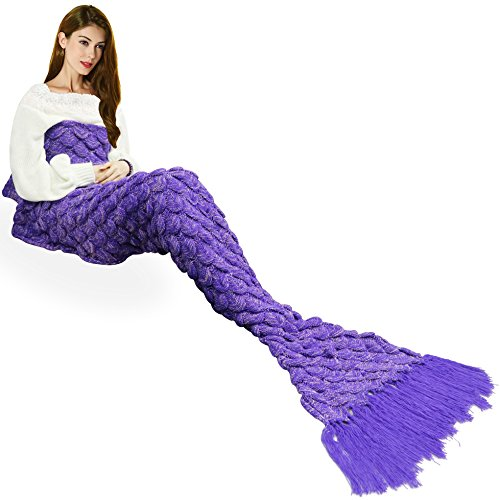 Lilac Goddess Costume (Handmade Mermaid Tail Blanket Crochet , Ibaby888 All Seasons Warm Knitted Bed Blanket Sofa Quilt Living Room Sleeping Bag for Kids and Adults(72.8