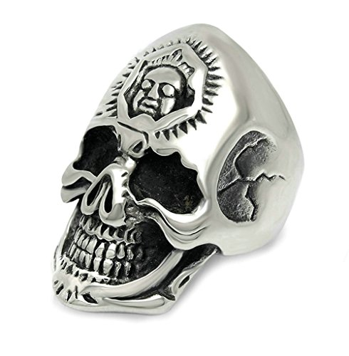 Men's Stainless Steel Ring Vintage Retro Skull Double Face Band Ring Silver Size - Mcqueen Alexander Outlet