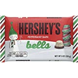 HERSHEY'S Holiday Peppermint Bark Bells, 9 Ounce (Pack of 18)