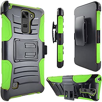 LG Stylo 2 Case, ATUS Advance Dual Layer Holster Kick Stand Case with Swivel Belt Clip For LG LS775 + Tempered Glass Screen Protector (Black/ Green)