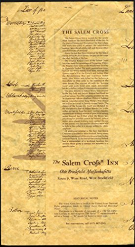 Salem Cross Inn Olde Brookfield MA paper menu 1960s