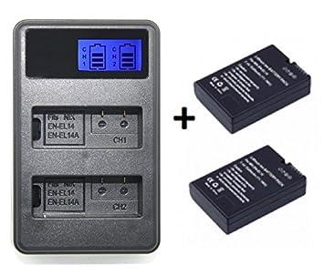 Theoutlettablet® Cargador Externo + 2 Baterías EN-EL14 para Camara Reflex Nikon d5300 d5200 d5100 d3400 d3300 d3200 d3100 p7100 p7700 p7800 P7004 ...