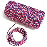 100 M Blue Red and White Cotton String, Durable Baker's Twine Heavy Duty Cotton Crafts Twine 2 mm for Packing Twine String Decorations