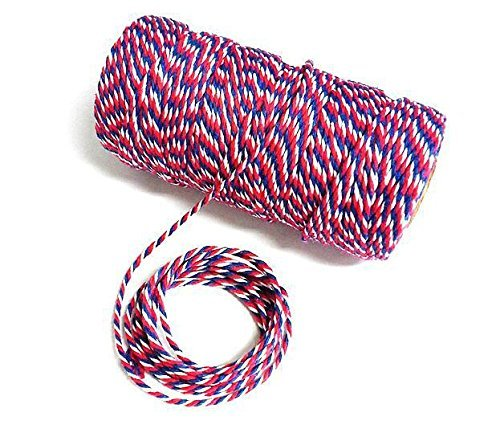 328 Feet Durable Cotton Baker's Twine Heavy Duty Cotton Crafts Twine String(Blue Red and White)]()