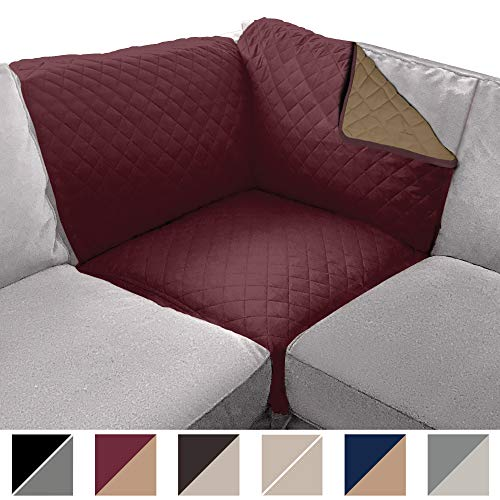Sofa Shield Original Patent Pending Sectional Corner, 30 Inchx30 Inch Slipcover, 2 Inch Strap Hook, Washable Furniture Protector, Slip Cover for Cats, Dogs, Kids Pets, Sectional Corner, Burgundy Tan
