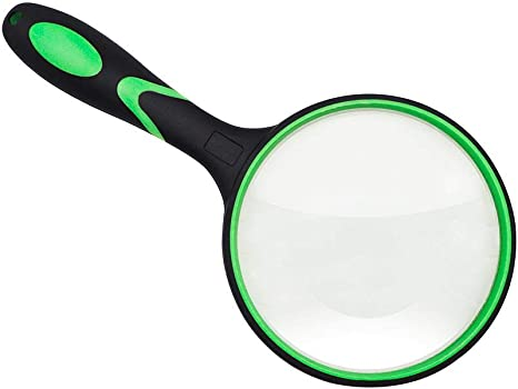 4 inch Large Magnifying Lens with Non-Slip Soft Handle for Book Newspaper Reading Magnifying Glass 3X Handheld Reading Magnifier Insect and Hobby Observation Classroom Science