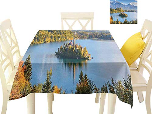 firee Elegance Engineered Tablecloth Lake Bled Slovenia with Island in The Middle which Contains Retro Buildings W70 x L70, Waterproof/Oil-Proof/Spill-Proof Tabletop Protector ()