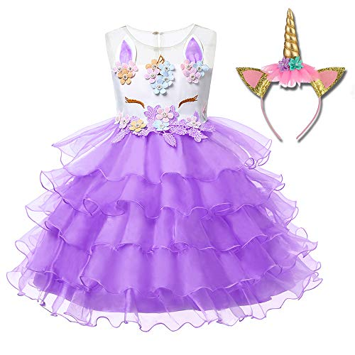 Girl Unicorn Costume Dress Party Dress Cosplay Flower Pageant Party Tutu Dresses -