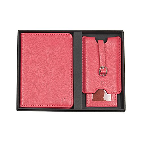 (Cathy's Concepts Personalized Leather Passport Holder & Luggage Tag Set, Pink, Letter D)