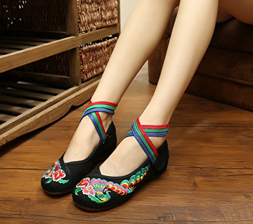 Breathable Floral Canvas Shoes Chinese Shoes Ricamo Soft Classic for Black Dressing dtRqPwP