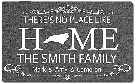 Eprocase Custom Personalized Doormat Rubber Backing Non-Slip Outdoor Indoor Entrance Door Mat Home Decor Mat Floor Mats, 30 x 18 Inches, There s No Place Like Home – State Doormat – North Carolina