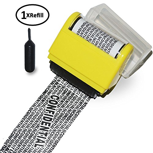 Security stamp ID protection roller stamp for Privacy Protection with Spare 1x inking refills (Yellow)