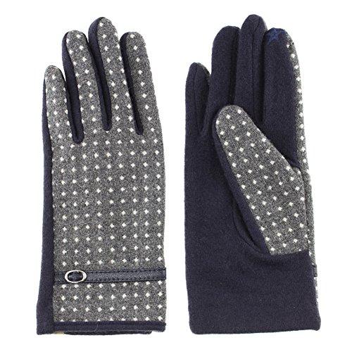 レディース ベルト付きドット柄コンビジャージ手袋 スマホ対応 全2色