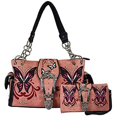 Western Buckle Butterfly Rhinestone Shoulder Bag Women Top Handle Totes Handbags Wallet Set (coral)
