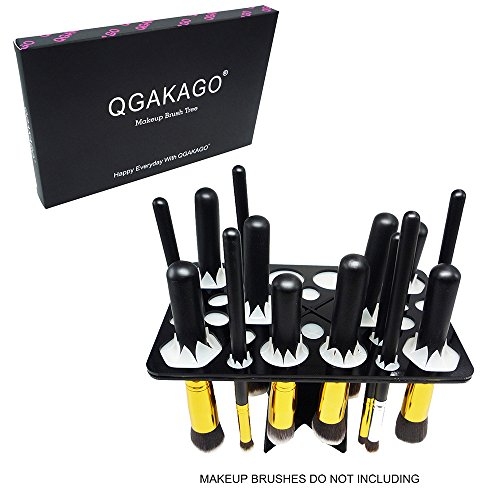QGAKAGO 28 Hole Makeup Brush Tree Holder Organizer Folding C